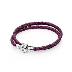 фотография браслет пандора кожаный  фиолетовый 590745CPE-D