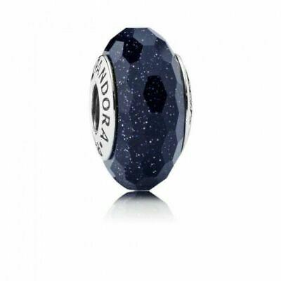 фотография мурано пандора сине-черная граненая с шиммером 791647