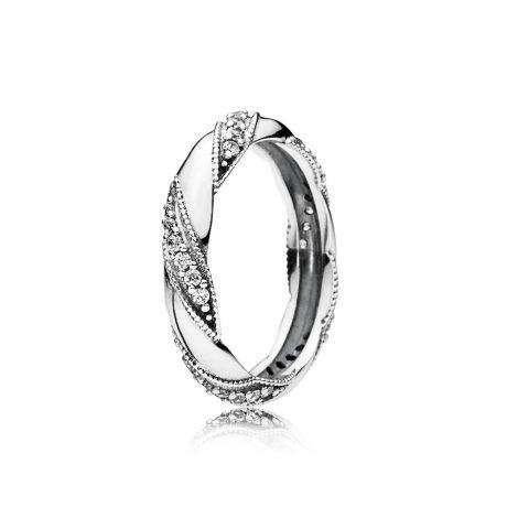 фотография кольцо пандора сияющее плетение 190981CZ-1