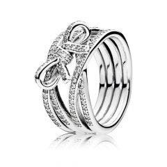 фотография кольцо пандора сверкающий бант 190995CZ-5
