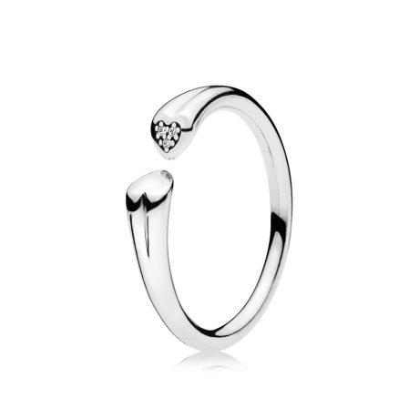 фотография кольцо пандора два сердца 196572CZ-1