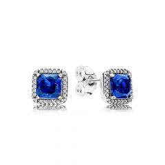 фотография серьги пандора вечная элегантность синий камень 290591NBT-2