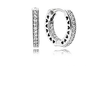 фотография серьги пандора сияющие кольца (маленькие) 296317CZ