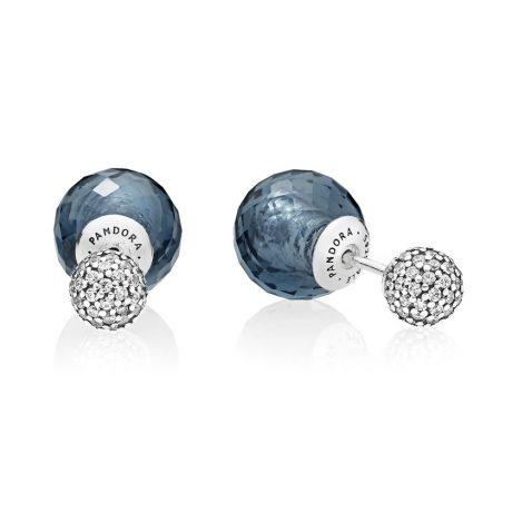 фотография серьги пандора синие мерцающие шары 296355NBC-2