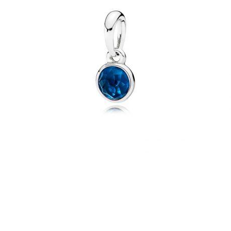 фотография подвеска пандора яркая капля синий хрусталь 390396NLB