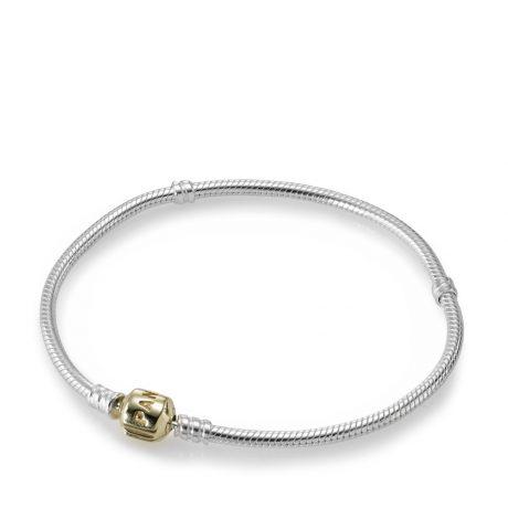 фотография браслет из серебра с замком из золота 585 590702HG