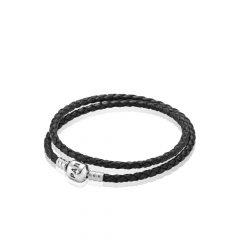фотография браслет пандора кожаный черный 590705CBK-D