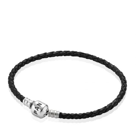 фотография браслет пандора кожаный черный одинарный 590705CBK-S
