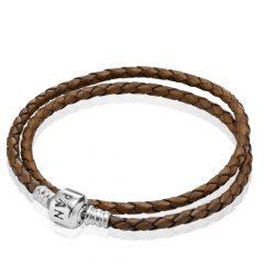 фотография двойной кожаный браслет пандора коричневый 590705CBN-D