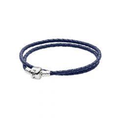 фотография двойной кожаный браслет пандора с застежкой из серебра, темно-синий 590705CDB-D