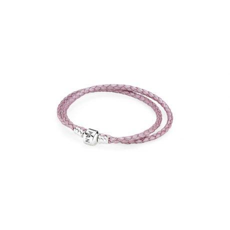фотография браслет пандора двойной, кожа, розовый, серебряный замок 590705CMP-D
