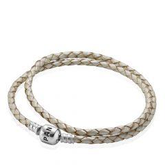 фотография двойной кожаный браслет пандора цвета шампанского 590705CPL-D