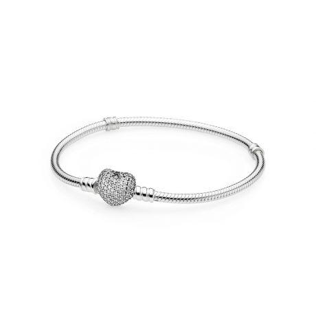 фотография браслет  пандора сверкающее сердце 590727CZ