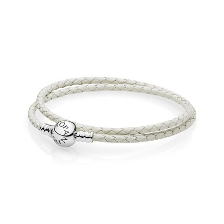 фотография браслет из кожи белого цвета с застежкой p-lock из серебра 590745CIW-D