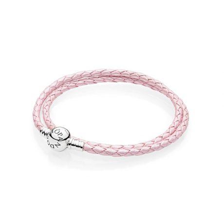 фотография двойной кожаный браслет moments, розовый 590745CMP-D
