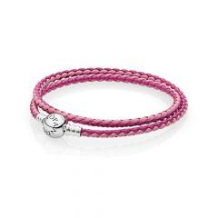 фотография браслет двойной из кожи розового и пурпурного цвета с застежкой p-lock из серебра 590747CPMX-D