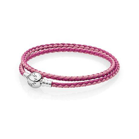 фотография браслет пандора кожаный переплетение светло- и темно-розового (разных размеров) 590747CPMX-D
