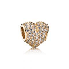 фотография шарм пандора сердце паве (с золотом) 750828CZ-1