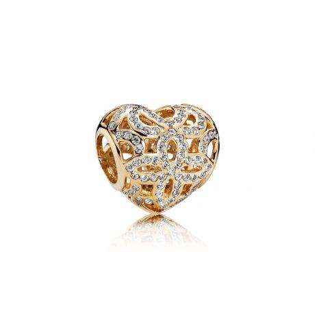 фотография шарм пандора драгоценное сердце 750837CZ