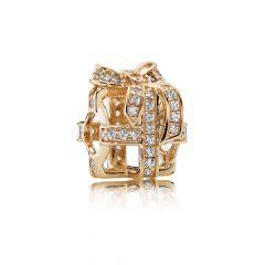 фотография шарм пандора золотой подарок (с золотом) 750839CZ-1