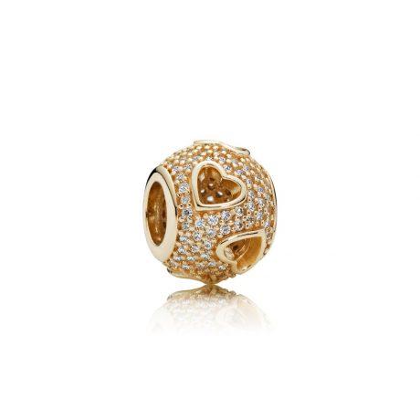 фотография шарм пандора золотое паве 750840CZ