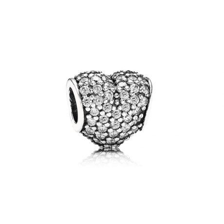 фотография шарм пандора белое сердце паве 791052CZ