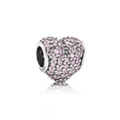 фотография шарм пандора розовое сердце паве 791052PCZ