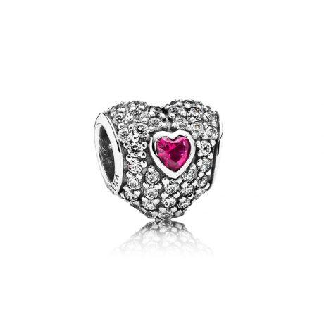 фотография шарм пандора малиновое сердце в сердце 791168SRU