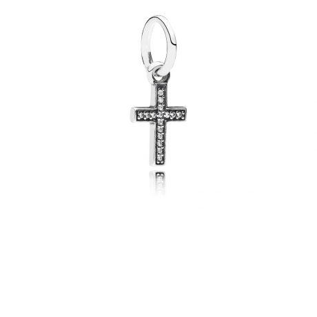 фотография подвеска пандора крестик (маленький) 791310CZ-