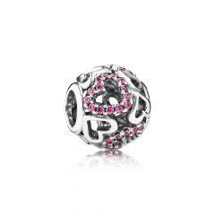 фотография шарм пандора розовые сердца 791424CZS