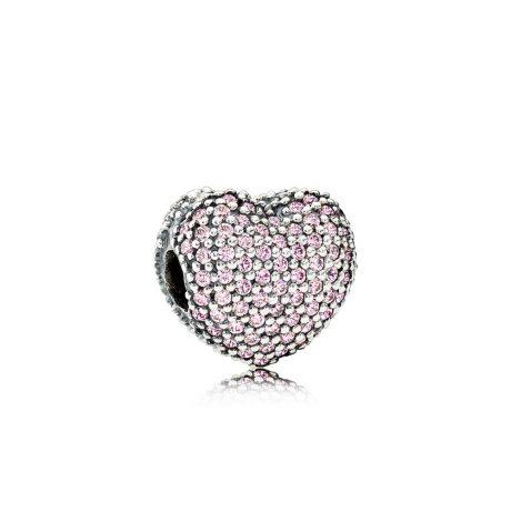 фотография клипса пандора розовое сердце 791427PCZ