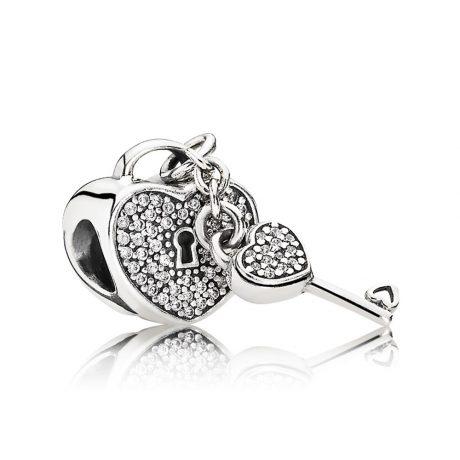 фотография шарм пандора сердце с ключиком 791429CZ