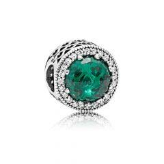 фотография шарм пандора зеленые сияющие сердца 791725NSG