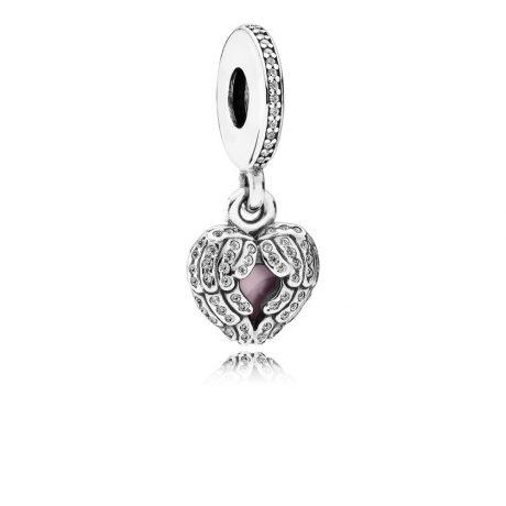 фотография шарм-подвеска пандора сердце медальон 791737CZ