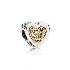 фотография шарм пандора дорогое сердце (с золотом 585 пр) 791740-2