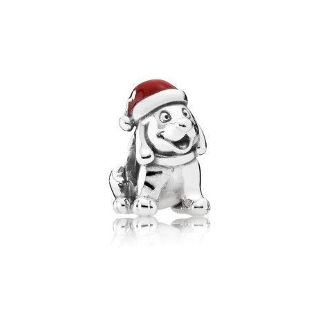 фотография шарм пандора рождественский щенок 791769EN39-2