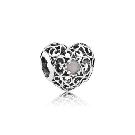 фотография шарм пандора ажурное сердце с лунным камнем 791784MSG