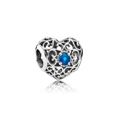 фотография шарм пандора ажурное сердце с изумрудным камнем 791784NLB