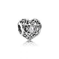 фотография шарм пандора ажурное сердце с прозрачным камнем 791784RC