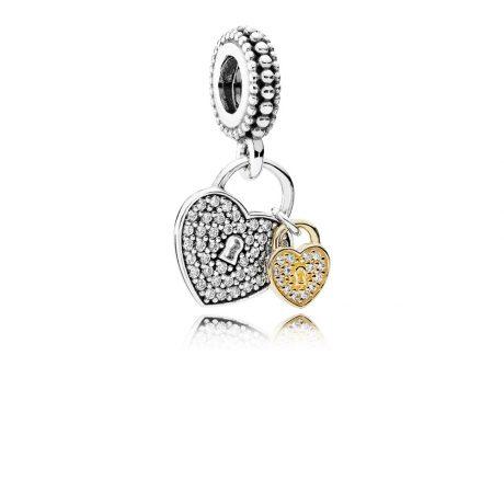 фотография подвеска пандора два любящих сердца 791807CZ-