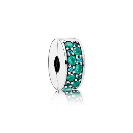 фотография клипса пандора сверкающее  бирюзовое кольцо 791817MCZMX-
