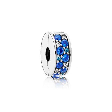 фотография клипса пандора сверкающее синее кольцо 791817NSBMX-