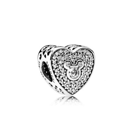 фотография шарм пандора сияющее сердце микки и минни, disney 792049CZ