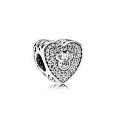 фотография шарм пандора сияющее сердце микки и минни, disney 792049CZ №1