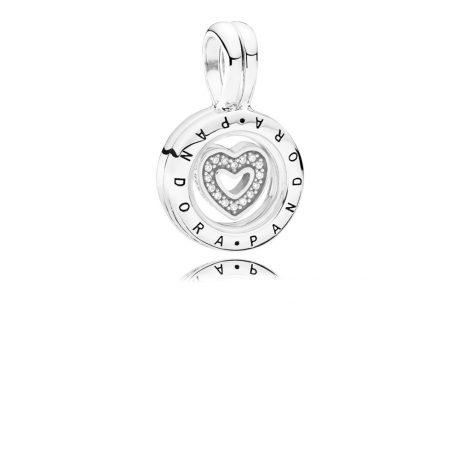 фотография серебряная подвеска пандора с сердцем 792144CZ