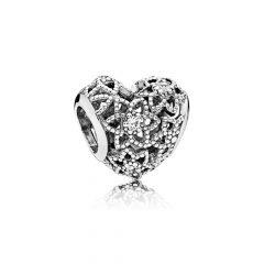фотография шарм пандора расцветающее сердце 796264CZ
