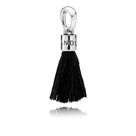 фотография подвеска из серебра с текстильной кистью черного цвета 797212CBK-