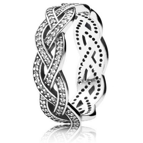 фотография кольцо пандора элегантное плетение е56342с-2