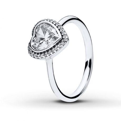 фотография кольцо пандора сверкающее сердце е67453ц-2