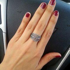 фотография кольцо пандора сверкающее перо а56342в-1 №1